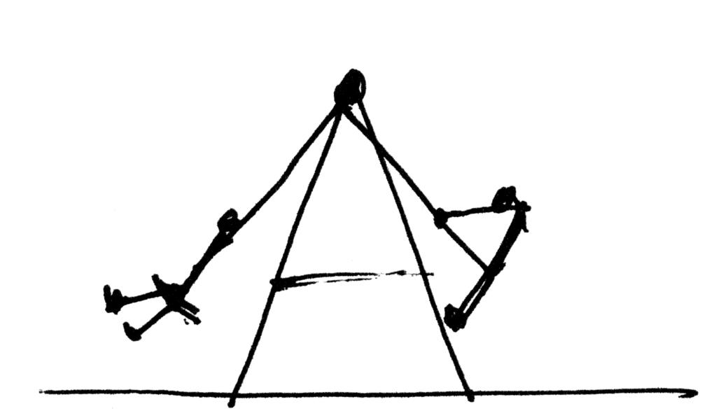 Die Zeichnung einer Schaukel als Bild für Ambivalenz